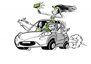 Dětský koutek Žena v autě na veletrhu Interbeauty